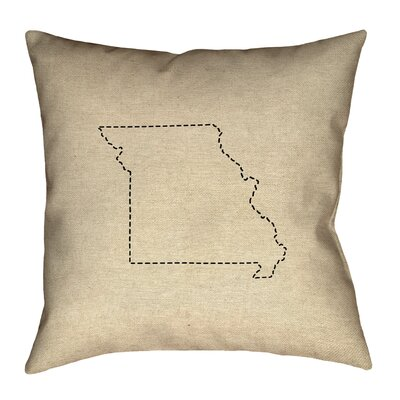 Austrinus Missouri Map Dash Outline Outdoor Throw Pillow Size: 18 x 18