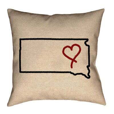 Chaput South Dakota Love Outline Pillow
