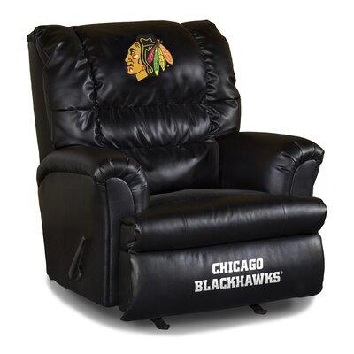 Nhl Big Daddy Leather Manual Recliner NHL Team: Chicago Blackhawks
