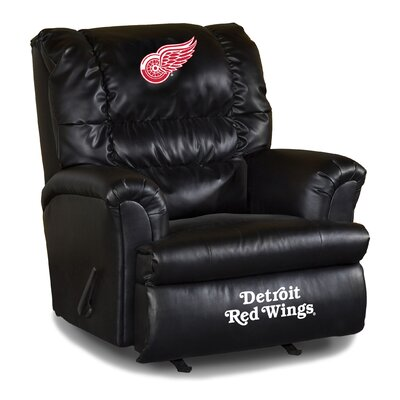 Nhl Big Daddy Leather Manual Recliner NHL Team: Detroit Redwings