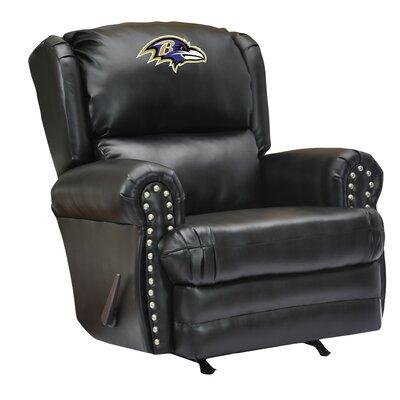 Leather Manual Recliner NFL Team: Baltimore Ravens