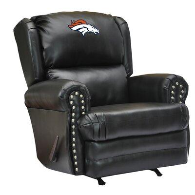 Leather Manual Recliner NFL Team: Denver Broncos