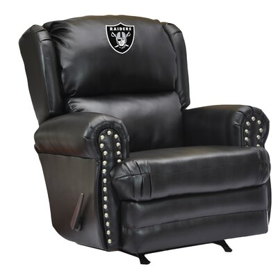 Leather Manual Recliner NFL Team: Oakland Raiders