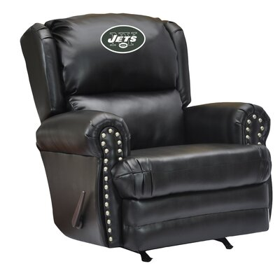 Leather Manual Recliner NFL Team: New York Jets