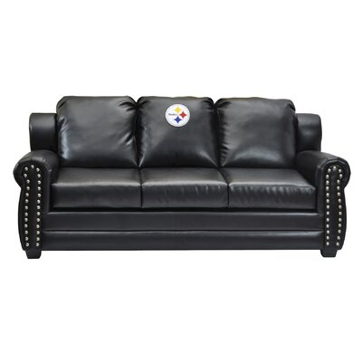 NFL Coach Leather Sofa NFL Team: Pittsburgh Steelers