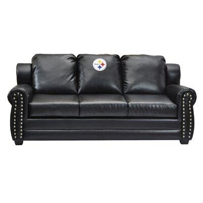 NFL Coach Leather Sofa NFL Team: Pittsburgh Steelers