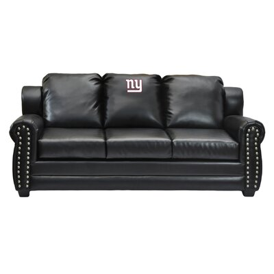 NFL Coach Leather Sofa NFL Team: New York Giants