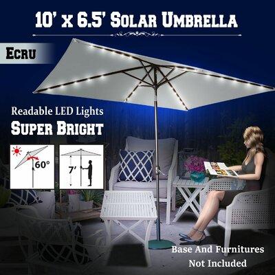10 Finn Solar Powered 26 LED Lights Illuminated Umbrella Color: Ecru