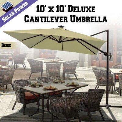 10 Grahm Solar Powered LED Lights Square Illuminated Umbrella Color: Beige
