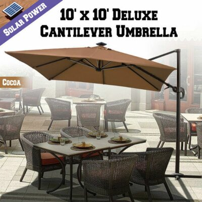 10 Grahm Solar Powered LED Lights Square Illuminated Umbrella Color: Cocoa