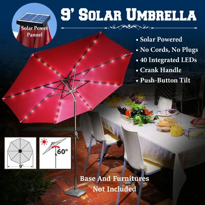 9 Abia Solar 40 LED Illuminated Umbrella Color: Burgundy