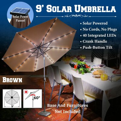 9 Abia Solar 40 LED Illuminated Umbrella Color: Brown