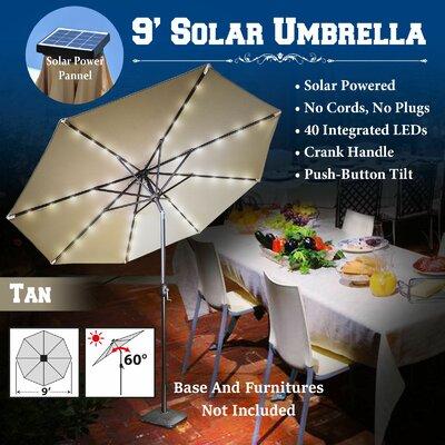 9 Abia Solar 40 LED Illuminated Umbrella Color: Tan