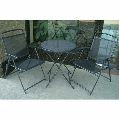 Kristen 3 Piece Bistro Set Finish: Black