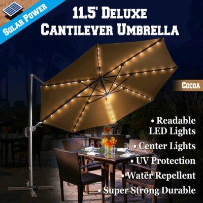 11.5 Conti Solar LED Light Illuminated Umbrella with Cover Color: Cocoa