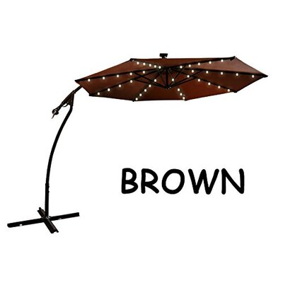 9 Chaparro Solar Powered LED Lights Illuminated Umbrella Color: Brown