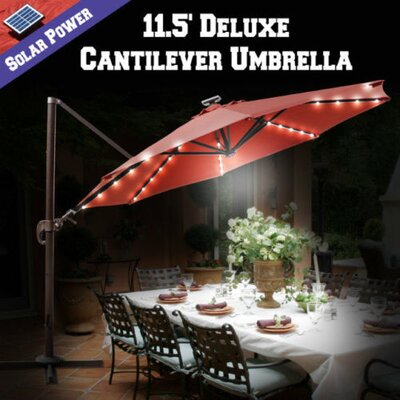 11.5 Conti Solar LED Light Illuminated Umbrella with Cover Color: Henna