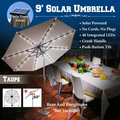 9 Abia Solar 40 LED Illuminated Umbrella Color: Taupe