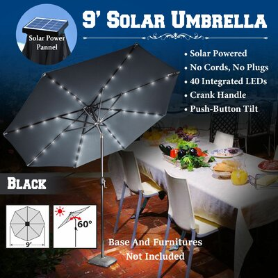 9 Abia Solar 40 LED Illuminated Umbrella Color: Black