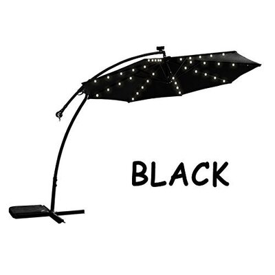 9 Chaparro Solar Powered LED Lights Illuminated Umbrella Color: Black