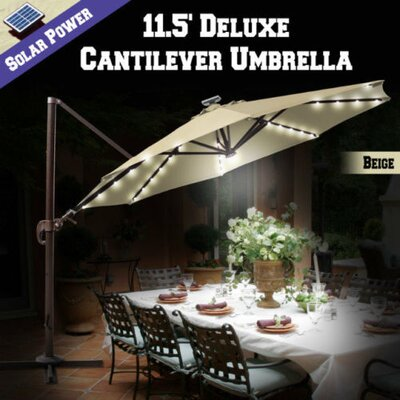 11.5 Conti Solar LED Light Illuminated Umbrella with Cover Color: Beige