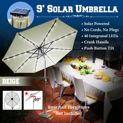 9 Abia Solar 40 LED Illuminated Umbrella Color: Beige