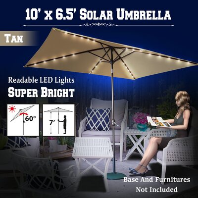 10 Finn Solar Powered 26 LED Lights Illuminated Umbrella Color: Tan