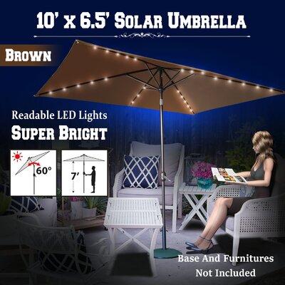 10 Finn Solar Powered 26 LED Lights Illuminated Umbrella Color: Brown