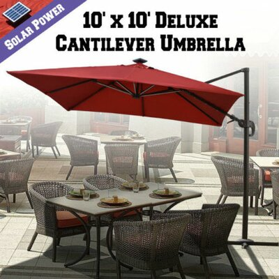 10 Grahm Solar Powered LED Lights Square Illuminated Umbrella Color: Henna