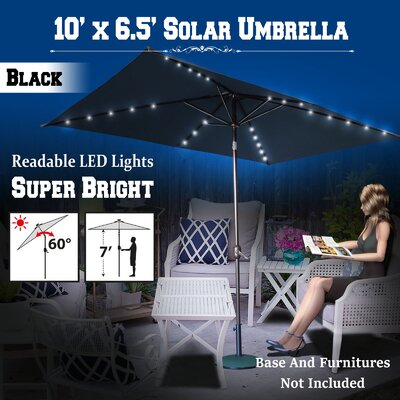 10 Finn Solar Powered 26 LED Lights Illuminated Umbrella Color: Black