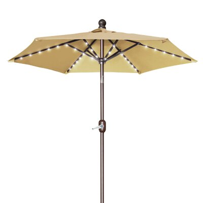 Hardman 6.5 Battery Patio 54 LED Lighted Illuminated Umbrella Fabric: Beige
