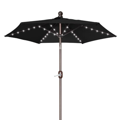 Hardman 6.5 Battery Patio 54 LED Lighted Illuminated Umbrella Fabric: Black