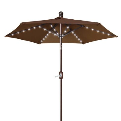 Hardman 6.5 Battery Patio 54 LED Lighted Illuminated Umbrella Fabric: Brown