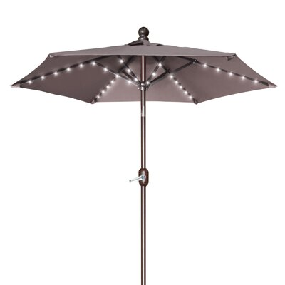 Hardman 6.5 Battery Patio 54 LED Lighted Illuminated Umbrella Fabric: Taupe
