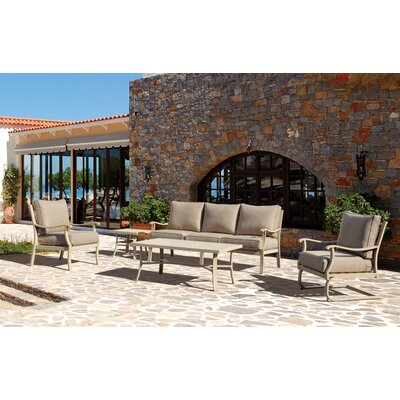Caressa Beige Aluminum Outdoor Deep Seating Group with Cushion