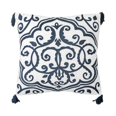 Walters Embroidered 100% Linen Throw Pillow