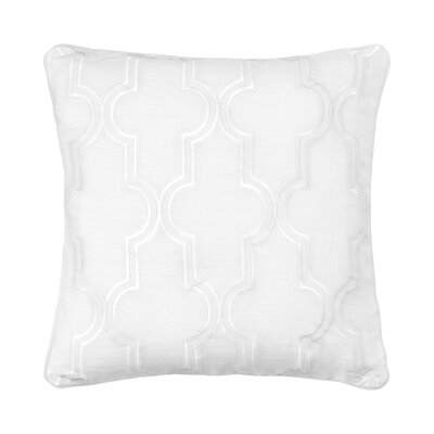 Amery Damask Embroidered 100% Linen Throw Pillow