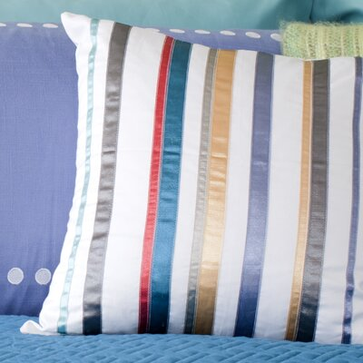 Edmund Striped Ribbon Toss 100% Cotton Throw Pillow