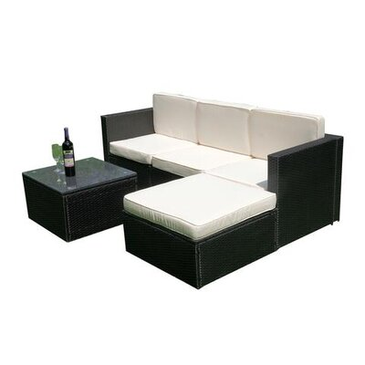 Peterstown Wicker Patio 5 Piece Deep Seating Group with Cushion