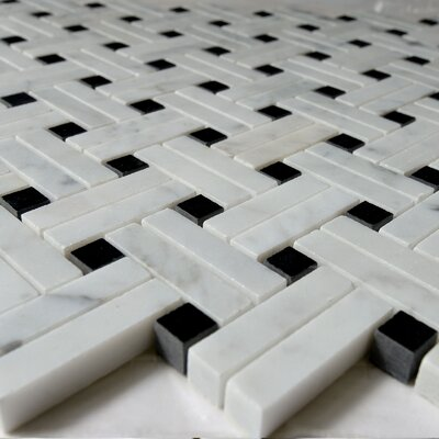 Knot Net Random Sized Marble Mosaic Tile in White/Black