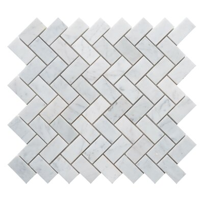 Carrara Honed Herringbone 1 x 2 Marble Mosaic Tile in White