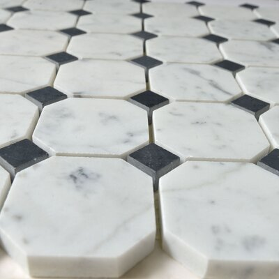 Random Sized Marble Mosaic Tile in Dot Black