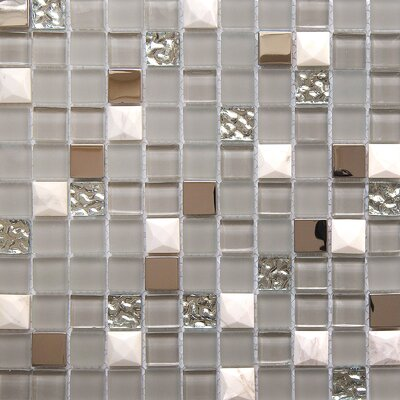 Mini Teseo Nana 1 x 1 Glass/Stone Mosaic Tile in White/Gray