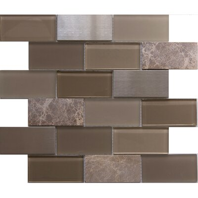 Tetris Zamora 2 x 4 Glass/Stone Mosaic Tile in Gray/Green