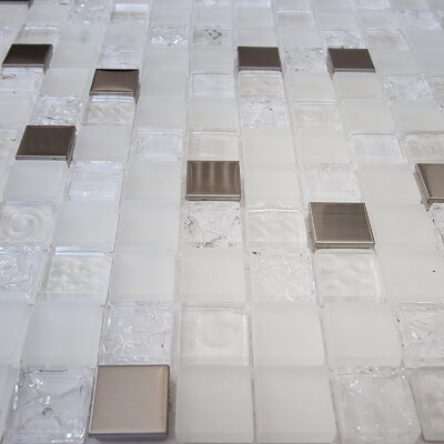Mini Teseo Diana 1 x 1 Glass/Stone Mosaic Tile in White/Gray