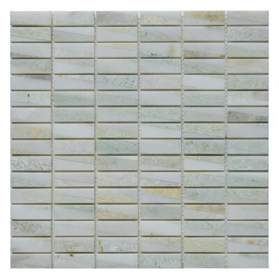 Bamboo 0.63 x 2 Marble Mosaic Tile in Ming Green