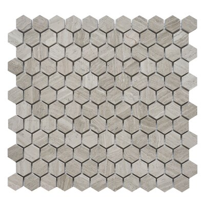 Hexagon 1 x 1 Marble Mosaic Tile in White Oak