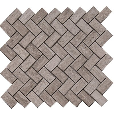 Cross 1 x 2 Marble Mosaic Tile in White Oak