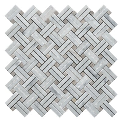 Knot Basket Random Sized Marble Mosaic Tile in White/Walnut