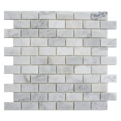 Carrara Brick 1 x 2 Marble Mosaic Tile in White